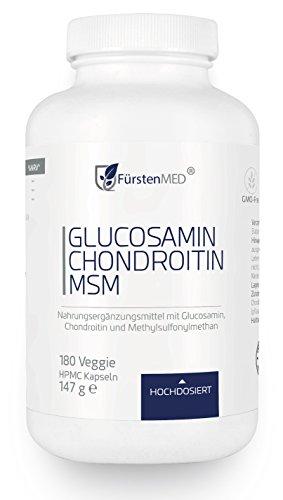 FürstenMED® Glucosamin + Chondroitin + MSM Kapseln - Hochdosierter Komplex ohne Zusatzstoffe aus Deutschland - Schmerzen Im Knie Band