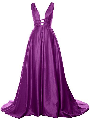 MACloth Deep V Neck Long Prom Ball Gown Open Back Satin Formal Evening Dress Amethyst