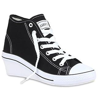 Stiefelparadies Damen Plateau Sneaker Metallic Lack Schuhe High Heel Plateauschuhe 155482 Weiss 36 Flandell yewaNSJ
