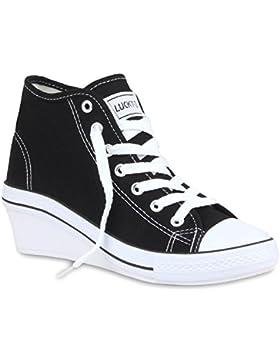 Stiefelparadies Damen Sneakers Stoff Sneaker Wedges Blumen Camouflage Sneaker Keilabsatz Details Schuhe Zipper...