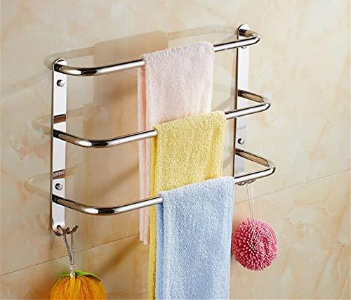 Baño de acero inoxidable 304, tres capas, barra de toalla, baño, toallero, estante de balcón, color acero inoxidable, 40 cm