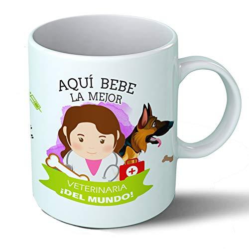 Planetacase Taza Desayuno Aquí Bebe la Mejor Veterinaria del Mundo Regalo Original Veterinarios Ceramica 330 mL