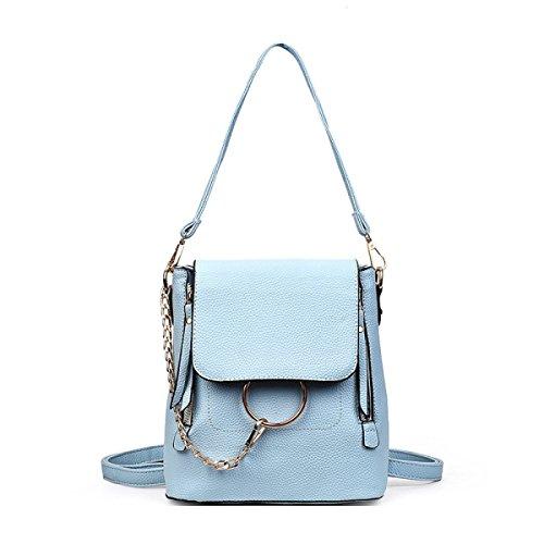 Neu Mode Damen Umhängetasche Mini Kleine Tasche Persönlichkeit Student Rucksack Skyblue