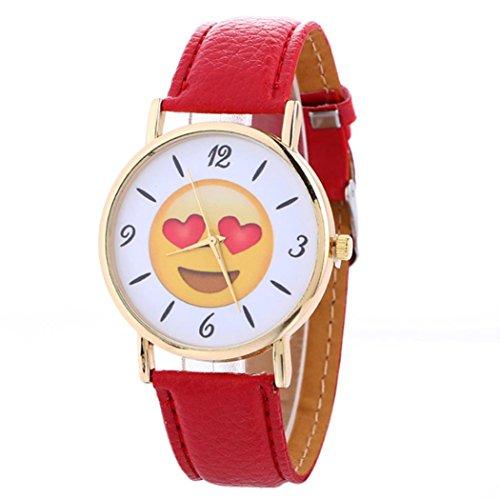 Preisvergleich Produktbild Hansee Uhr,  Mode Frauen Neutral Niedlich Ausdruck Leder Quarz Armbanduhr Casual Armband (Rot)