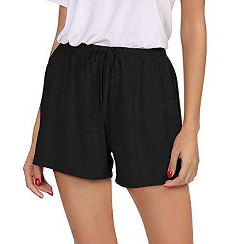 XZDCDJ Shorts Damen Hose kurzen Sommer high Waist elegant Baumwolle Leinen Solide Lose Hot Pants Taschen Sommer Casual Shorts Hosen(Schwarz,L) -