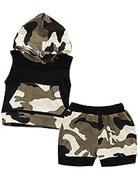 Covermason Baby Jungen Camouflage Kapuze Tops Kapuzenpullover + Hosen Bekleidungssets