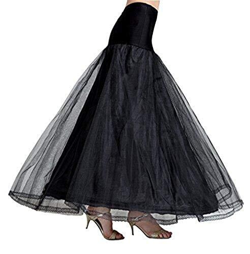 Schwarze Halloween Weiße Und Kostüm - Petticoat Unterröcke Reifrock Damen Rockabilly A Linie Lang für Hochzeit Brautkleid Abendlieid Schwarz Weiß 1 Reifen