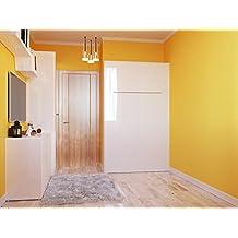 Cama plegable de 120cm horizontalcolor blanco frente brillantecama plegable & cama de pared SMARTBett con colchón de muelles embolsados
