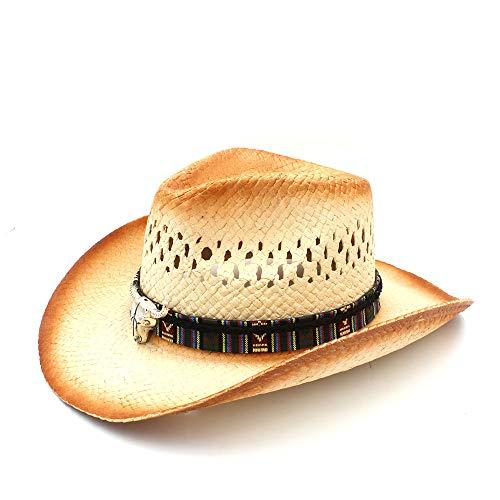 HYF Western Cowboy-Hut der Männer mit Art und Weiselegierungskuhkopfdekoration Strand Sun Cowgirl Sombrero (Farbe : Natürlich, Größe : 58 cm)