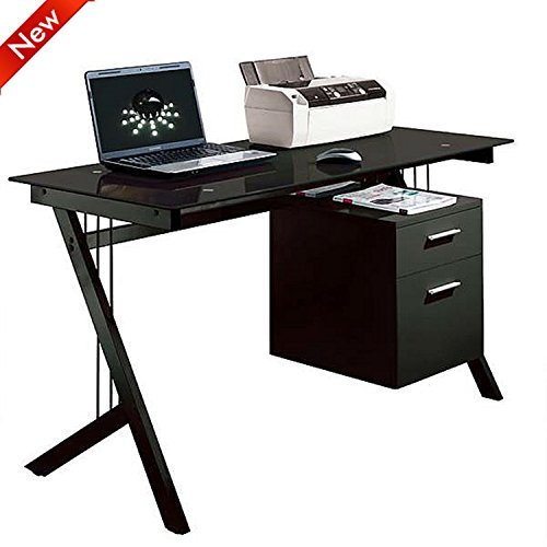 Popamazing Glass Desk Top Steel Frame Computer Desk Workstation with 2 Tier Storage Drawer Black Home Office Table