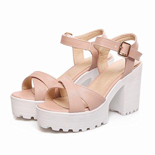Damen süß modern bequem Schnalle open toe dicker Absatz Slingback Plateau Sandalen (36, Weiß) Mee Shoes
