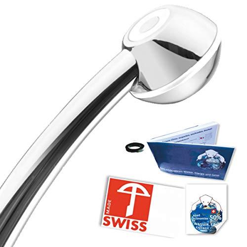 Handbrause SwissClima I-SHOWER WOW! geeignet für Durchlauferhitzer und Duschende, die unter tiefem Wasserdruck leiden: kräftiger Strahl, druckerhöhend, aufmachbar, hygienisch, kalkfrei, 1 Flussmenge