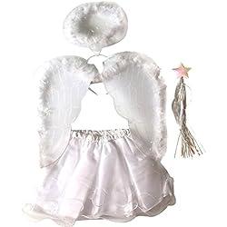 Tinksky Kinder-Partei-Kostüm-Winkel-Flügel-Ballettröckchen-Rock-gesetzte Stirnband-Stab-Mädchen-feenhafte Kleid-Ausstattung für Halloween-Weihnachtsfest 4pcs / set (Engel)