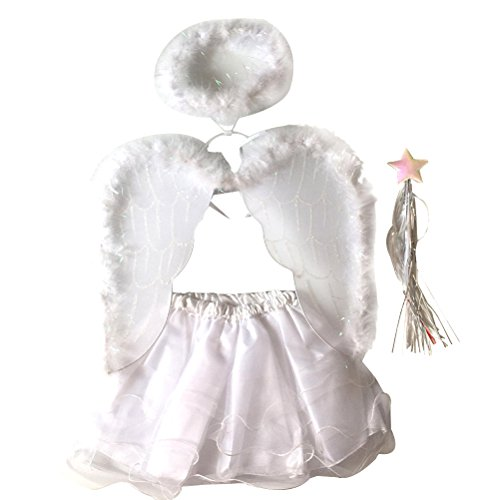 3 Halo Kinder Kostüme (LUOEM Engel Kostüme Engel Flügel Halo Wand Tutu Rock Set Feather Angle Fairy Dress up Outfit für Cosplay Halloween Weihnachtsfest Kostüme)