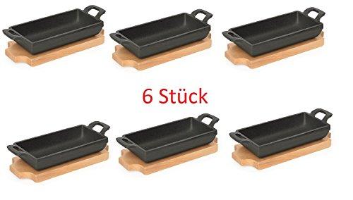 6 x Mini Poêle en fonte avec dessous de plat en bois, non compatible lave-vaisselle, Très résistant, Haute Position, idéal pour servir thermique/15,3 x 7,7 x 3,2 cm
