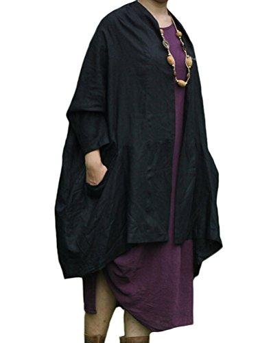 MatchLife Femme Manches Longues Cardigan Irrégulier Manteau Style1-Noir