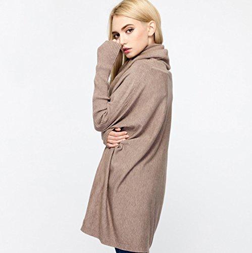 YOUJIA Donna Oversize Lunga Maglione Maglioni Maniche Lunghe Pullover a Collo Alto Mini Vestiti in maglia - Taglia unica Cachi