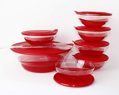 Tupperware Set Eleganzia 3,2 L + 6 x 600 ml + Salatbesteck ROT/TRANSPARENT Schale Schüssel Servierschale BLICKFANG