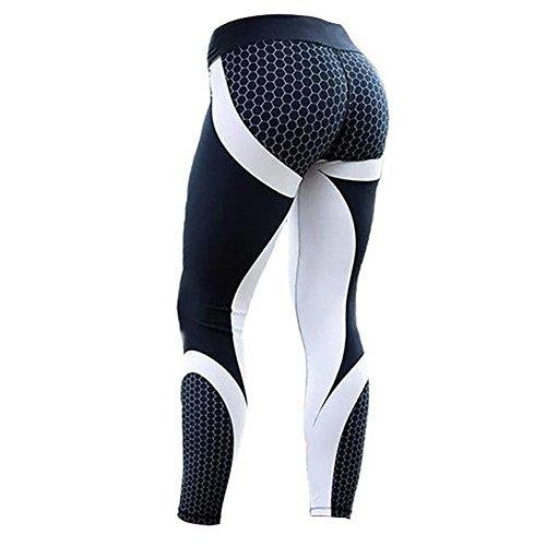 Leggins Sportivi Donna Pantaloni Sport Palestra Yoga Fitness Vita Alta Elastico (Nero, L)