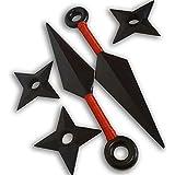 Naruto Juego 2 Kunai Grande Rojo y 3 Shuriken Arma y Estrella Ninja