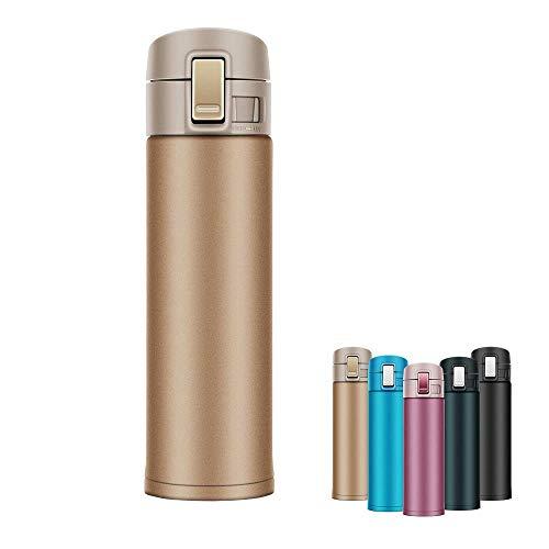 Newdora Thermoflasche 500ML Edelstahl doppelwandiger Vakuum-isolierter Isolierflasche Thermokanne Reise Büro Tee Kaffee Tasse Becher Flasche