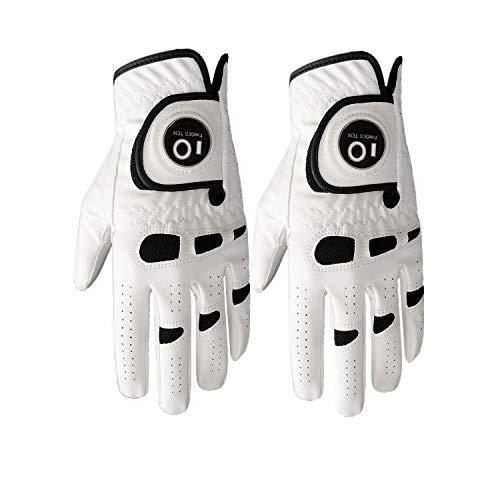 Finger Ten 2 Stück Herren Golfhandschuh Links Rechts Hand Mit Ball Marker, Wettersof Cabretta Leder Griff Golf Handschuh Weicher Komfort Passform Größe Klein Mittel ML Groß XL -