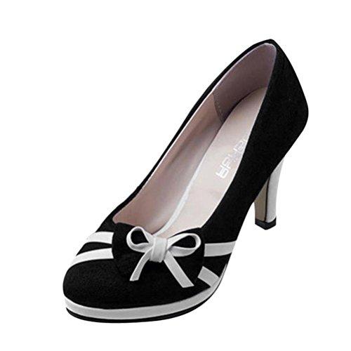 Fuibo Elegant Sandalette Women es Spring Fashion Round Toe Shoes Bowknot Flache High-Heels Schuhe (38, Schwarz)