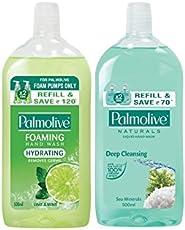 Palmolive Foaming Handwash Refill - 500 ml (Packof 2, Lime & Mint Naturals Sea Mineral)