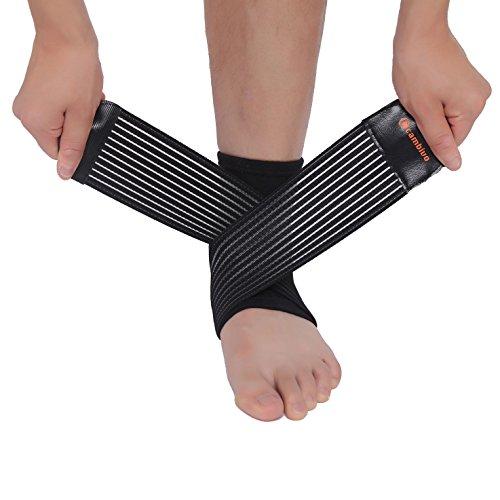 CAMBIVO 2 x Knöchelbandage, Sprunggelenk Bandage mit Klettverschluss, Kompression-Fußbandage für Plantarfasziitis, Achillessehnen, Fersensporn für Damen und Herren (S/M)