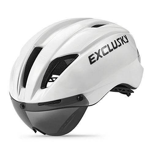 Exclusky Fahrradhelm Fahrrad Erwachsene Fahrrad Helme 57 - 61 cm mit Brille (white)