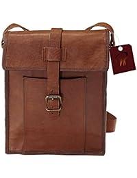 Leather Bag Real Vintage Genuine Side Sling Shoulder Messenger Bag For Unisex Size (L) 9 (H) 11 (W) 3 By Pranjals...