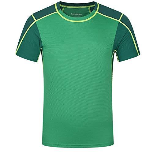 Madeinely Männer Gym Top Herren Dry Fit Mesh Athletic Shirts UV Sonnenschutz Sport T ShirtsFür Radfahren, Training, Training, Fitness 4 Farben zur Übung (Color : Green, Size : XXL)