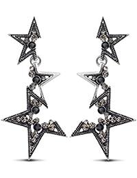 Azora Hot Long Drop Dangle Earrings For Women Star Silver Plated Rimestone Earrings For Women And Girls