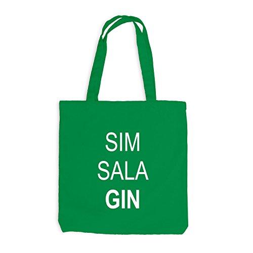 Jutebeutel - SIM SALA GIN - Fun Barkeeper Bartender Kellygrün