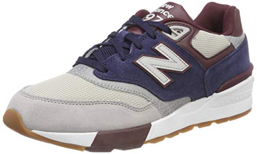 New Balance 597, Baskets mode , Bleu (Rain Cloud/Pigment/Nb Burgundy Gnb), 43 EU