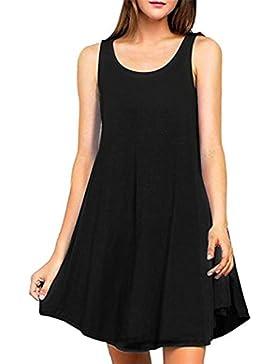Rcool Moda Mujer Blusa Camiseta Verano Bordado Sin Mangas Sólido Color Tops