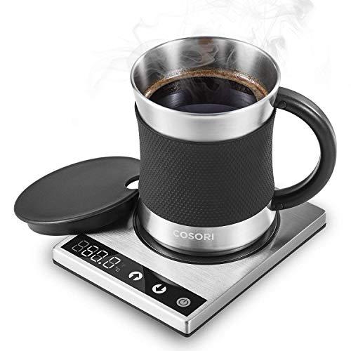 COSORI Tassenwärmer Kaffeewärmer 24W Wärmeplatte Heizplatte für Tee Kaffee Milch Kakao, mit 500ml Edelstahl Kaffeebecher, einstellbaren Temperaturen (25°-110°C), AC/DC Adapter, ideal für Büro Zuhause