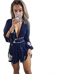 Wolfleague Combishort Femme Ouvert Profond Col V Imprimé Floral Manche  Longue Combinaison Femme Clubwear Bodycon Combishort 8707e14960b