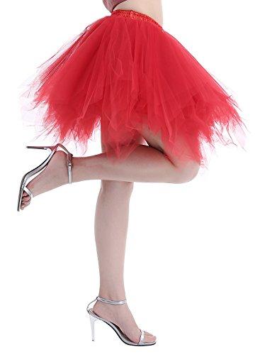 Dressystar Minirock Kurz Unterrock Tutu Unregelmäßig Tüll Damen Mädchen Ballettrock Multi-Schichten Rot