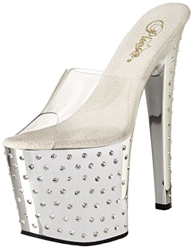 Pleaser STARDUST-751, Damen Plateau Sandalen, Silber (Silber (Clr/Slv Chrome)), 37 EU (4 Damen UK) Chrome High Heel