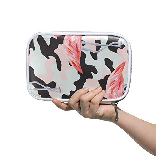 ISAOA Große Kapazität Multifunktions-Mäppchen für die Schule, Pink Camo Flamingo Stabile Schreibwaren Federmäppchen Kosmetiktasche Etui für Stifte, Make-up, Pinsel, Notizbuch - Camo Leder Stift