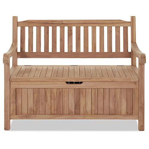 Homy Truhenbank Holz Teak unbehandelt Holzbank Aufbewahrung Gartenmöbel Gartenbank - Indiana -
