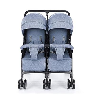 STRR Cochecito Doble, Gemelo tándem Cochecito de bebé, 5 Puntos de Cinturones de Seguridad, Diseño Plegable for facilitar su Transporte