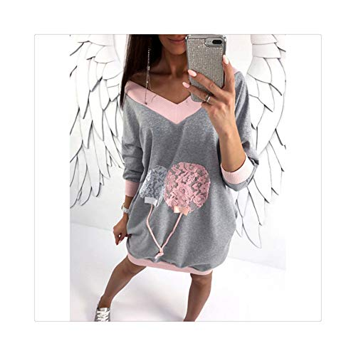 Fashion V-Neck Women Casual Dress Long Sleeve Dress Autumn Long Sleeve Dandelion Dresses Gray Pink L