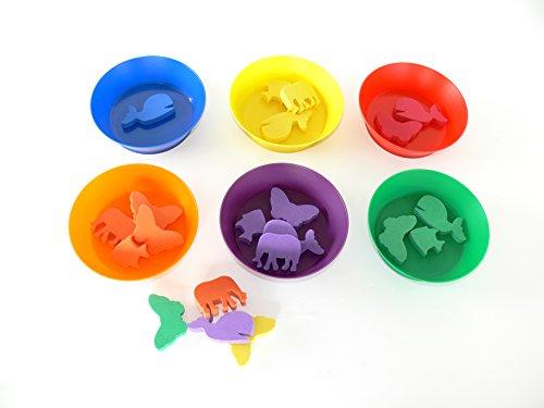 Oz International - Lot de 108 jetons animaux en mousse, couleurs assorties