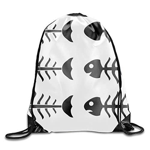 (DANCENLI Personality Fish Skeletons Gym Drawstring Shoulder Bag Backpack)