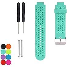 Correa de repuesto Yefod, de silicona suave, para los modelos de reloj de carrera con GPS GarminForerunner235/230/630/220/620/735XT; incluye herramientas y agarraderas., color Azul verdoso