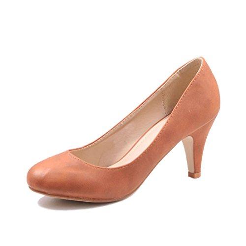 Jumex Damen Keilabsatz Pumps Sommer Schuhe in Kunstleder Camel