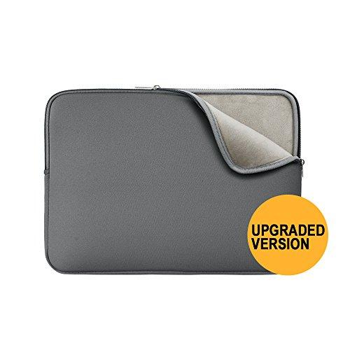 Gepolsterte Neopren-Tragetasche und -Schutzhülle von Rainyear für MacBook, Notebook, Chromebook, Ultrabook, ThinkPad, Lenovo, Asus, Acer, Toshiba, Samsung Grey(Upgraded Version) 15'-15.4'