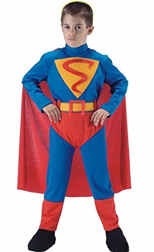 Kinder Kostüm Superboy - SUPERBOY mit Umhang Kostüm für Kinder 10-11 Jahre Maßnahme